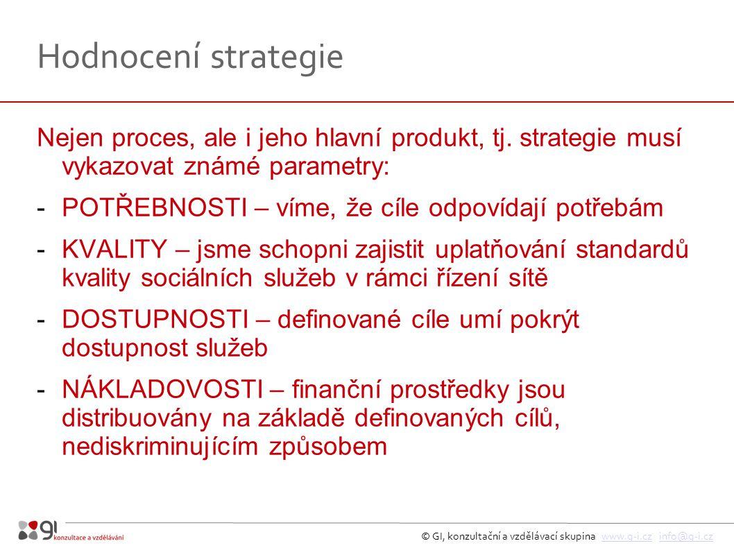 © GI, konzultační a vzdělávací skupina www.g-i.cz info@g-i.czwww.g-i.czinfo@g-i.cz Hodnocení strategie Nejen proces, ale i jeho hlavní produkt, tj.