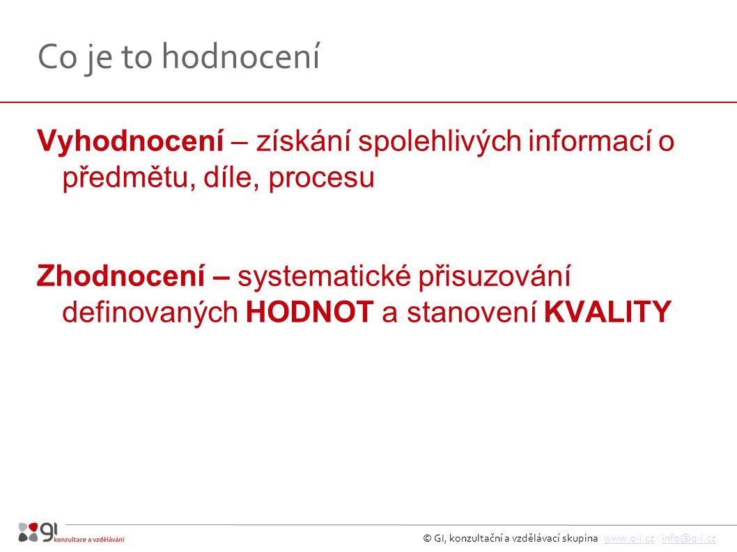 © GI, konzultační a vzdělávací skupina www.g-i.cz info@g-i.czwww.g-i.czinfo@g-i.cz Co je to hodnocení Vyhodnocení – získání spolehlivých informací o p