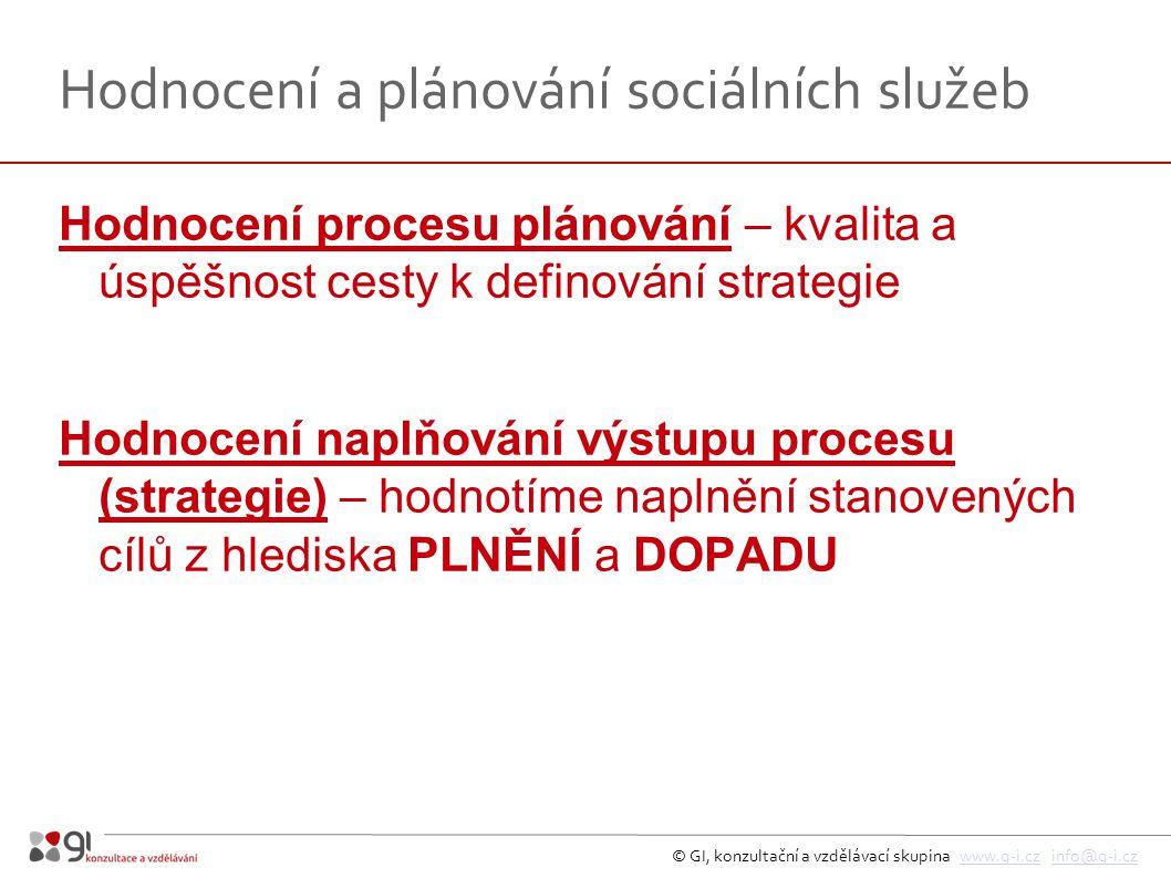 © GI, konzultační a vzdělávací skupina www.g-i.cz info@g-i.czwww.g-i.czinfo@g-i.cz Hodnocení a plánování sociálních služeb Hodnocení procesu plánování