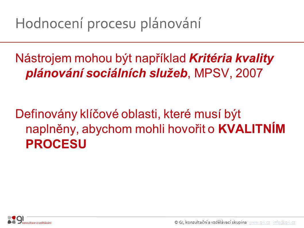 © GI, konzultační a vzdělávací skupina www.g-i.cz info@g-i.czwww.g-i.czinfo@g-i.cz Hodnocení procesu plánování Nástrojem mohou být například Kritéria kvality plánování sociálních služeb, MPSV, 2007 Definovány klíčové oblasti, které musí být naplněny, abychom mohli hovořit o KVALITNÍM PROCESU