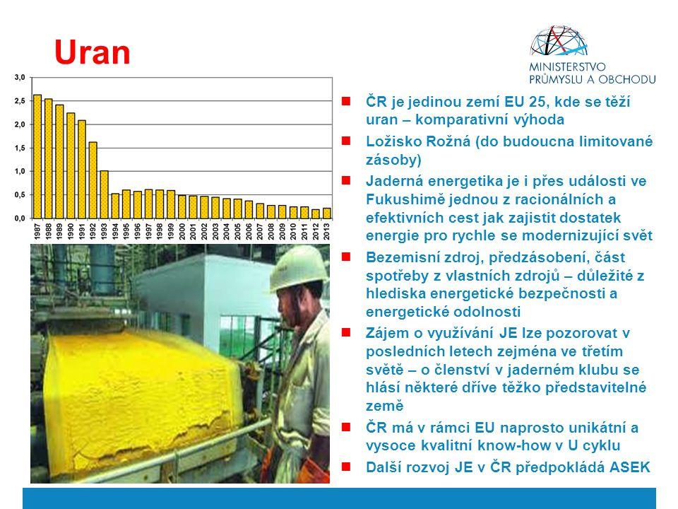 Uran ČR je jedinou zemí EU 25, kde se těží uran – komparativní výhoda Ložisko Rožná (do budoucna limitované zásoby) Jaderná energetika je i přes událo