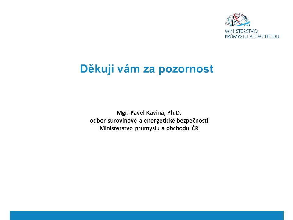 Mgr. Pavel Kavina, Ph.D. odbor surovinové a energetické bezpečnosti Ministerstvo průmyslu a obchodu ČR Děkuji vám za pozornost