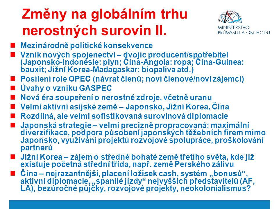Změny na globálním trhu nerostných surovin II. Mezinárodně politické konsekvence Vznik nových spojenectví – dvojic producent/spotřebitel (Japonsko-Ind