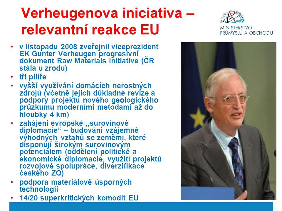 Verheugenova iniciativa – relevantní reakce EU v listopadu 2008 zveřejnil viceprezident EK Gunter Verheugen progresivní dokument Raw Materials Initiat