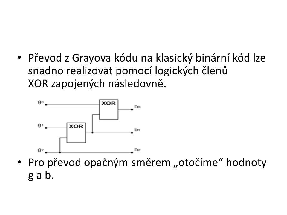 """Převod z Grayova kódu na klasický binární kód lze snadno realizovat pomocí logických členů XOR zapojených následovně. Pro převod opačným směrem """"otočí"""