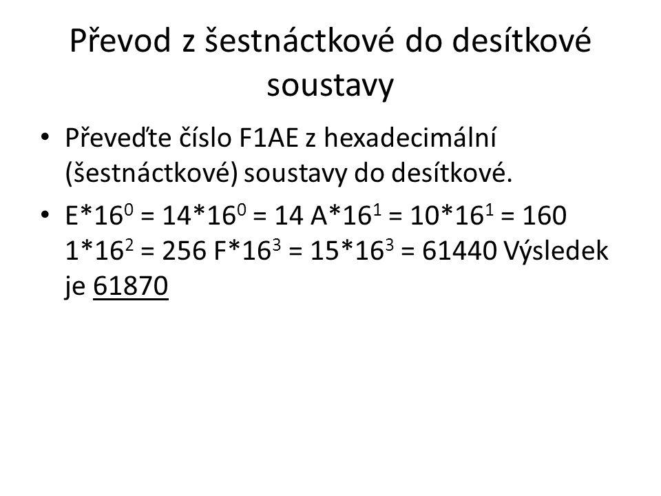 Převod z šestnáctkové do desítkové soustavy Převeďte číslo F1AE z hexadecimální (šestnáctkové) soustavy do desítkové. E*16 0 = 14*16 0 = 14 A*16 1 = 1