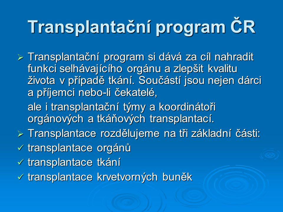 Historie  Za začátek transplantací v České republice lze považovat rok 1961, kdy byla v tehdejším Československu provedena první transplantace ledviny ve FN Hradci Králové.