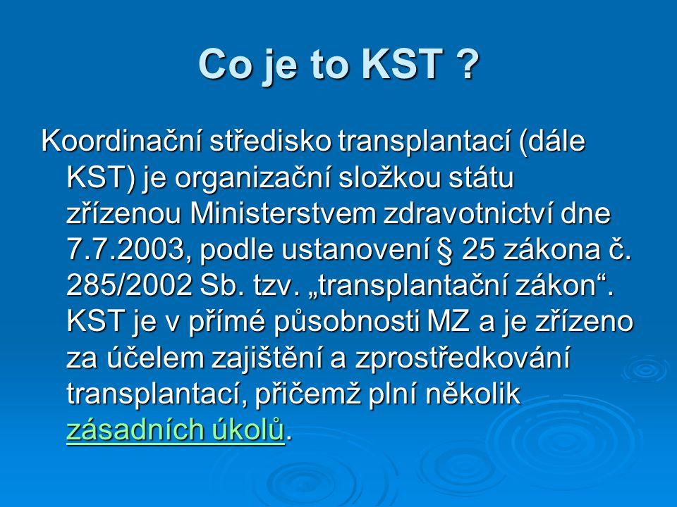 Co je to KST ? Koordinační středisko transplantací (dále KST) je organizační složkou státu zřízenou Ministerstvem zdravotnictví dne 7.7.2003, podle us