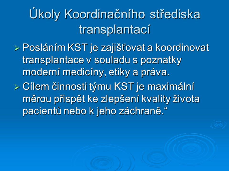 Úkoly Koordinačního střediska transplantací  Posláním KST je zajišťovat a koordinovat transplantace v souladu s poznatky moderní medicíny, etiky a pr