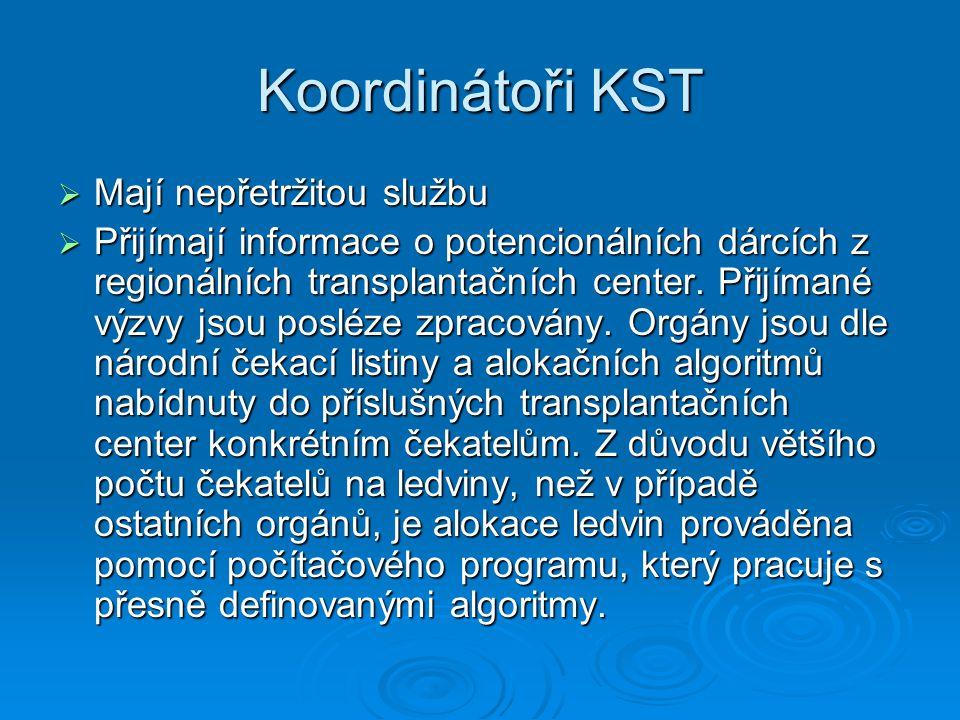 Koordinátoři KST  Mají nepřetržitou službu  Přijímají informace o potencionálních dárcích z regionálních transplantačních center. Přijímané výzvy js