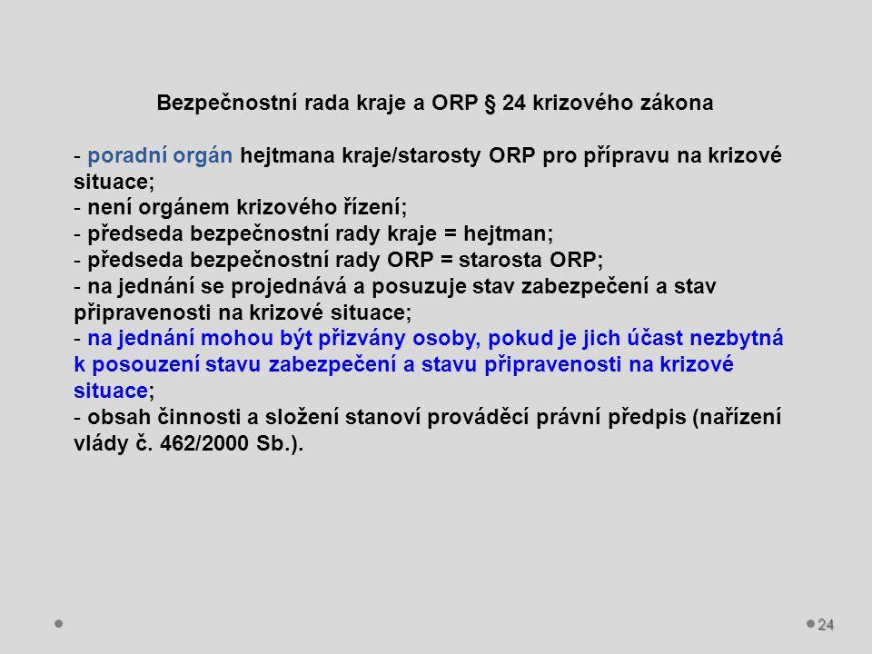 24 Bezpečnostní rada kraje a ORP § 24 krizového zákona - poradní orgán hejtmana kraje/starosty ORP pro přípravu na krizové situace; - není orgánem kri