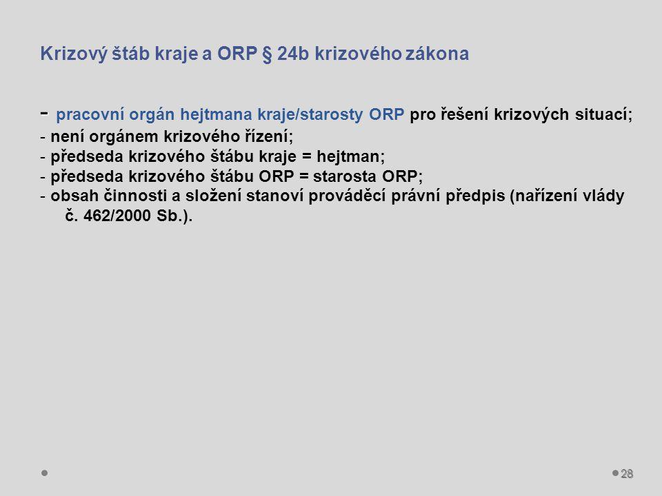 28 Krizový štáb kraje a ORP § 24b krizového zákona - - pracovní orgán hejtmana kraje/starosty ORP pro řešení krizových situací; - není orgánem krizového řízení; - předseda krizového štábu kraje = hejtman; - předseda krizového štábu ORP = starosta ORP; - obsah činnosti a složení stanoví prováděcí právní předpis (nařízení vlády č.
