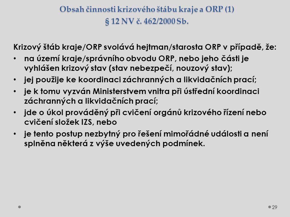 Obsah činnosti krizového štábu kraje a ORP (1) § 12 NV č. 462/2000 Sb. Krizový štáb kraje/ORP svolává hejtman/starosta ORP v případě, že: na území kra