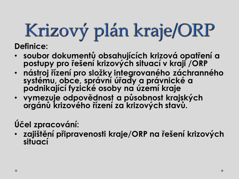Krizový plán kraje/ORP Definice: soubor dokumentů obsahujících krizová opatření a postupy pro řešení krizových situací v kraji /ORP nástroj řízení pro