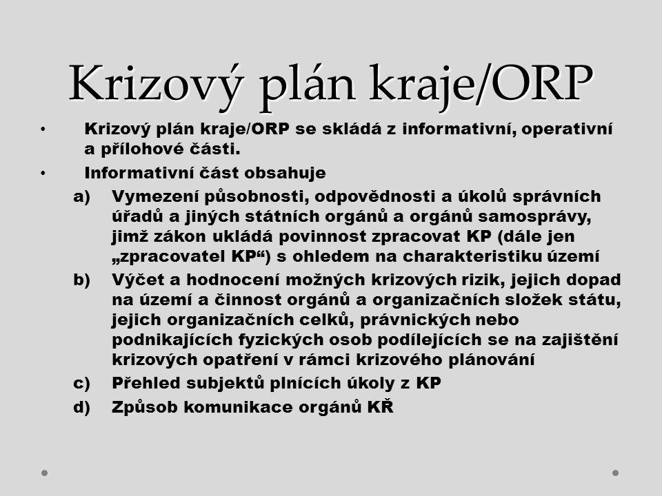 Krizový plán kraje/ORP Krizový plán kraje/ORP se skládá z informativní, operativní a přílohové části. Informativní část obsahuje a)Vymezení působnosti