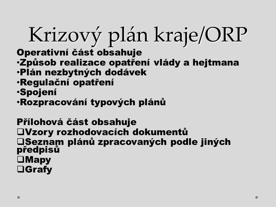 Krizový plán kraje/ORP Operativní část obsahuje Způsob realizace opatření vlády a hejtmana Plán nezbytných dodávek Regulační opatření Spojení Rozpraco