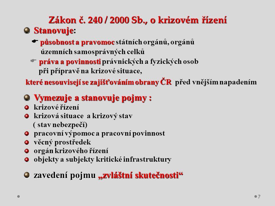 Zákon č. 240 / 2000 Sb., o krizovém řízení Stanovuje Stanovuje: působnost a pravomoc  působnost a pravomoc státních orgánů, orgánů územních samospráv