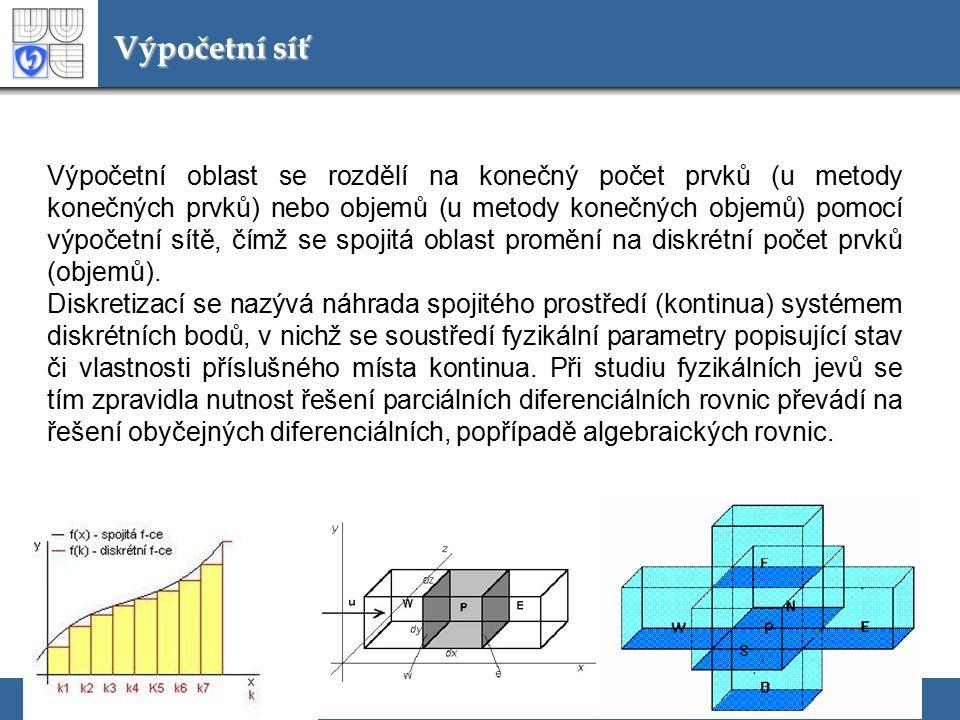 Výpočetní síť Výpočetní oblast se rozdělí na konečný počet prvků (u metody konečných prvků) nebo objemů (u metody konečných objemů) pomocí výpočetní s