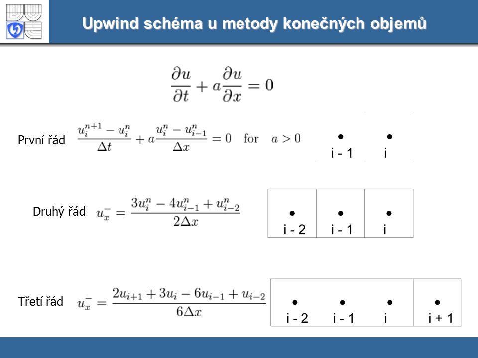 Upwind schéma u metody konečných objemů První řád Druhý řád Třetí řád