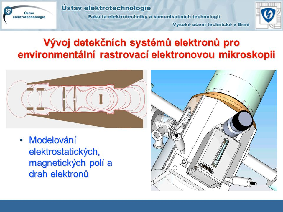 Modelování elektrostatických, magnetických polí a drah elektronůModelování elektrostatických, magnetických polí a drah elektronů Vývoj detekčních syst