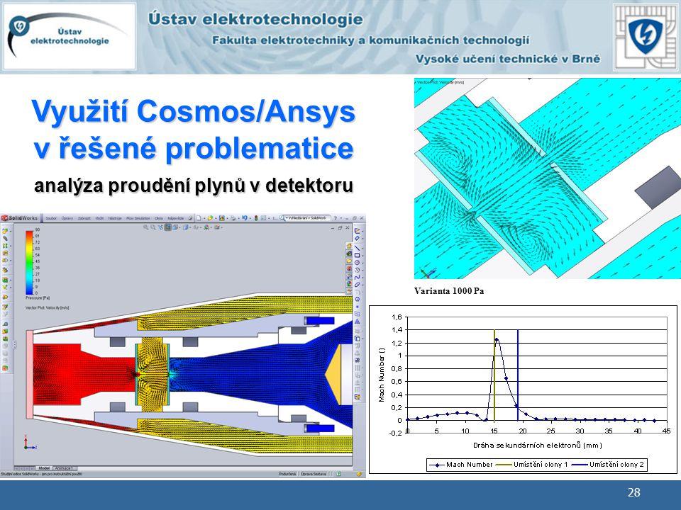 28 BMEM Geometrické modelování Varianta 1000 Pa Využití Cosmos/Ansys v řešené problematice analýza proudění plynů v detektoru