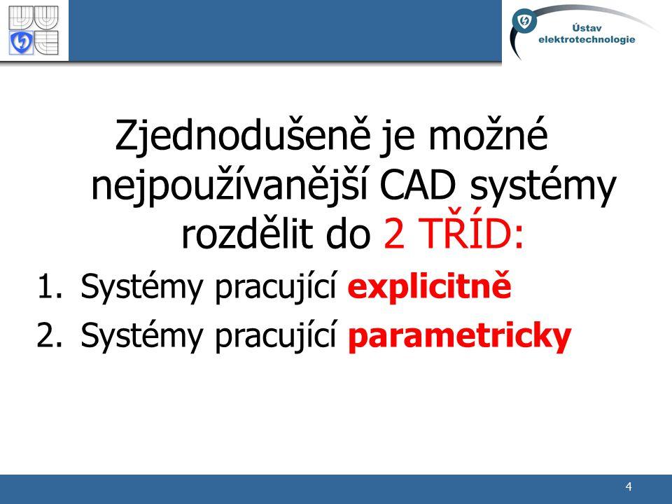 4 Zjednodušeně je možné nejpoužívanější CAD systémy rozdělit do 2 TŘÍD: 1.Systémy pracující explicitně 2.Systémy pracující parametricky