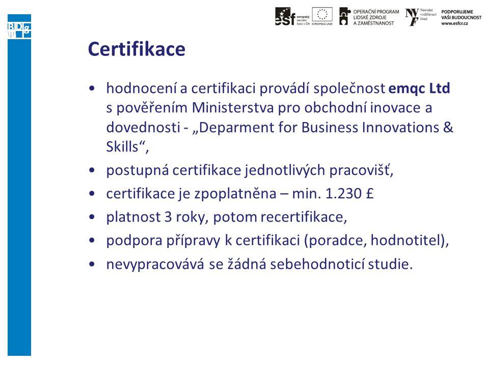 """Certifikace hodnocení a certifikaci provádí společnost emqc Ltd s pověřením Ministerstva pro obchodní inovace a dovednosti - """"Deparment for Business Innovations & Skills , postupná certifikace jednotlivých pracovišť, certifikace je zpoplatněna – min."""