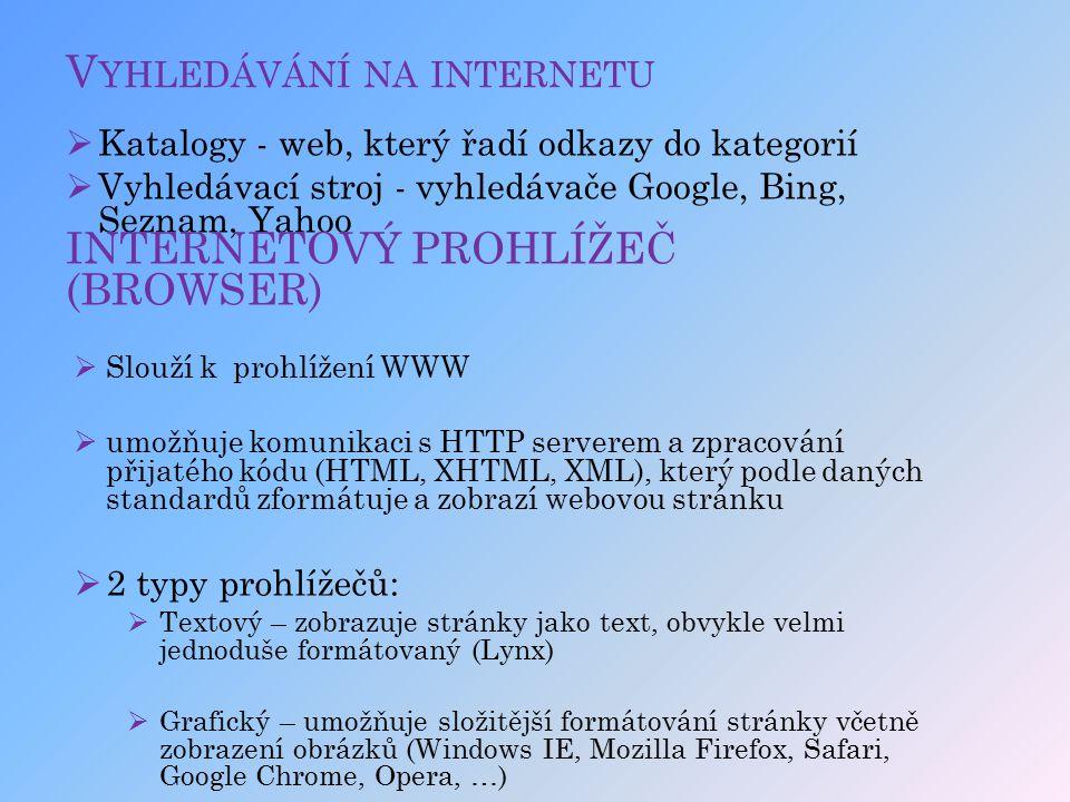 V YHLEDÁVÁNÍ NA INTERNETU  Katalogy - web, který řadí odkazy do kategorií  Vyhledávací stroj - vyhledávače Google, Bing, Seznam, Yahoo INTERNETOVÝ P