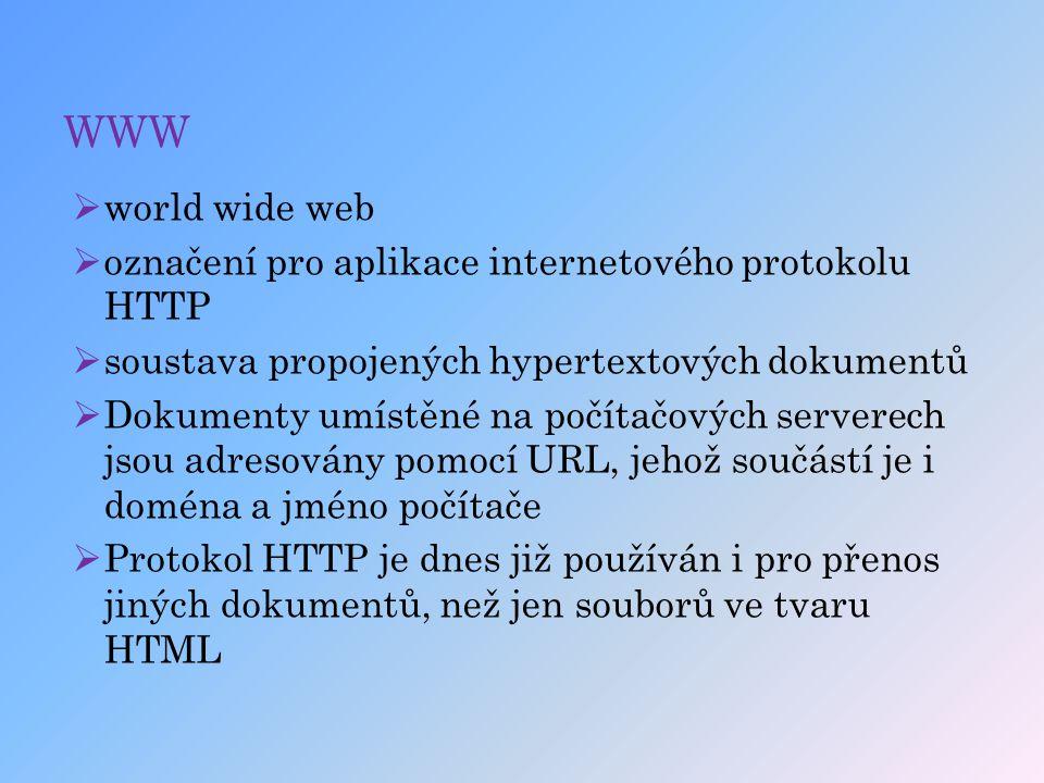 WWW  world wide web  označení pro aplikace internetového protokolu HTTP  soustava propojených hypertextových dokumentů  Dokumenty umístěné na počí