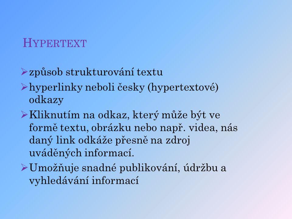 H YPERTEXT  způsob strukturování textu  hyperlinky neboli česky (hypertextové) odkazy  Kliknutím na odkaz, který může být ve formě textu, obrázku n