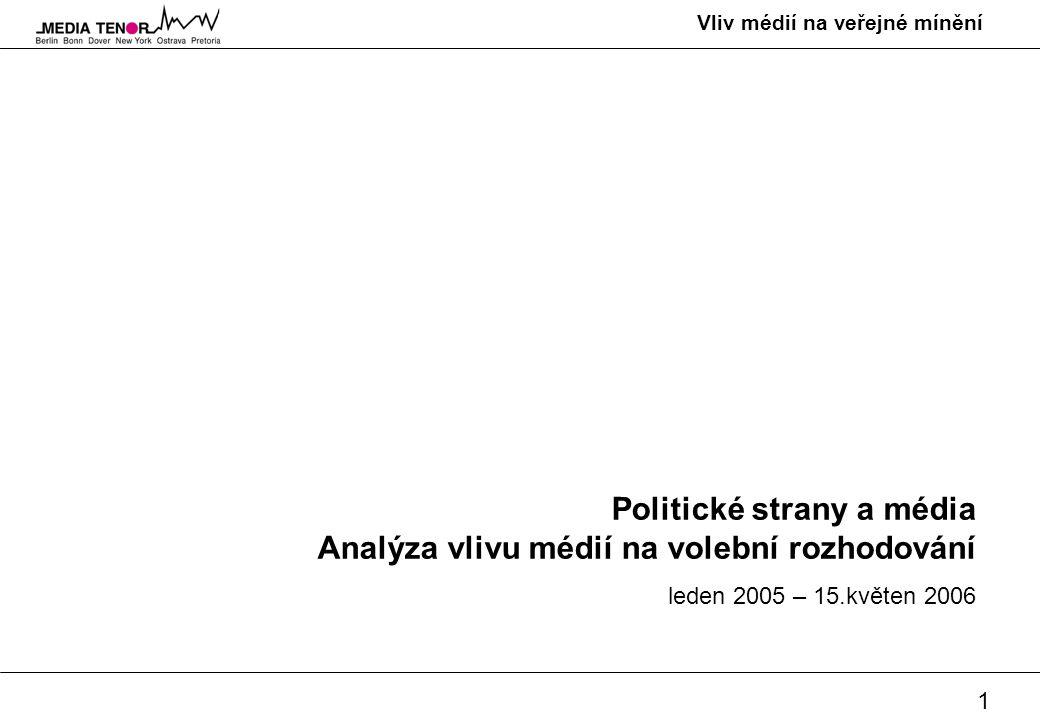 1 Vliv médií na veřejné mínění Politické strany a média Analýza vlivu médií na volební rozhodování leden 2005 – 15.květen 2006
