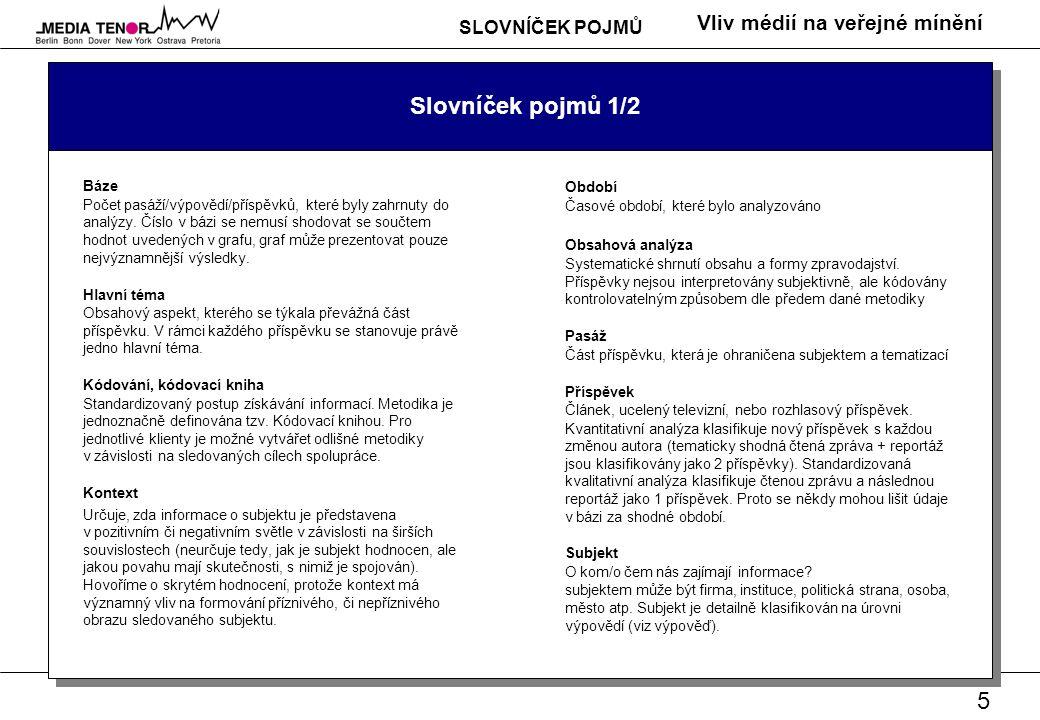 6 Vliv médií na veřejné mínění Slovníček pojmů 2/2 Tematizace Jeden ze základních aspektů výpovědi.
