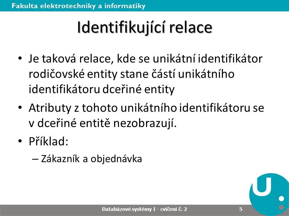 Identifikující relace Je taková relace, kde se unikátní identifikátor rodičovské entity stane částí unikátního identifikátoru dceřiné entity Atributy