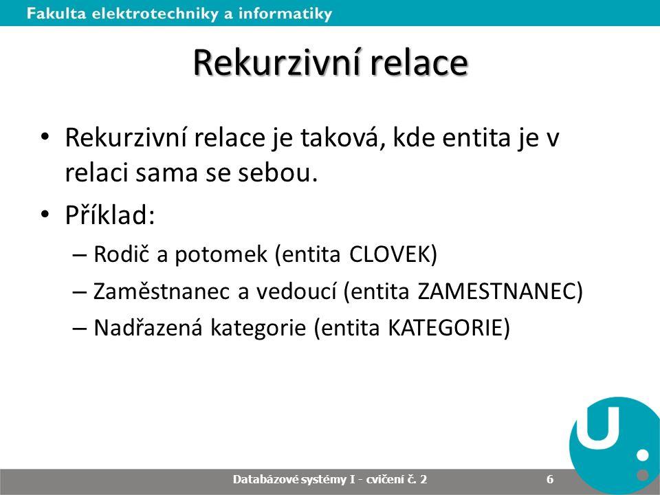 Rekurzivní relace Rekurzivní relace je taková, kde entita je v relaci sama se sebou. Příklad: – Rodič a potomek (entita CLOVEK) – Zaměstnanec a vedouc