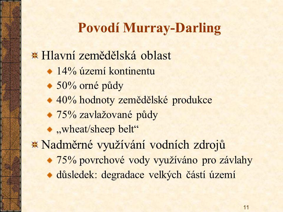"""11 Povodí Murray-Darling Hlavní zemědělská oblast 14% území kontinentu 50% orné půdy 40% hodnoty zemědělské produkce 75% zavlažované půdy """"wheat/sheep"""