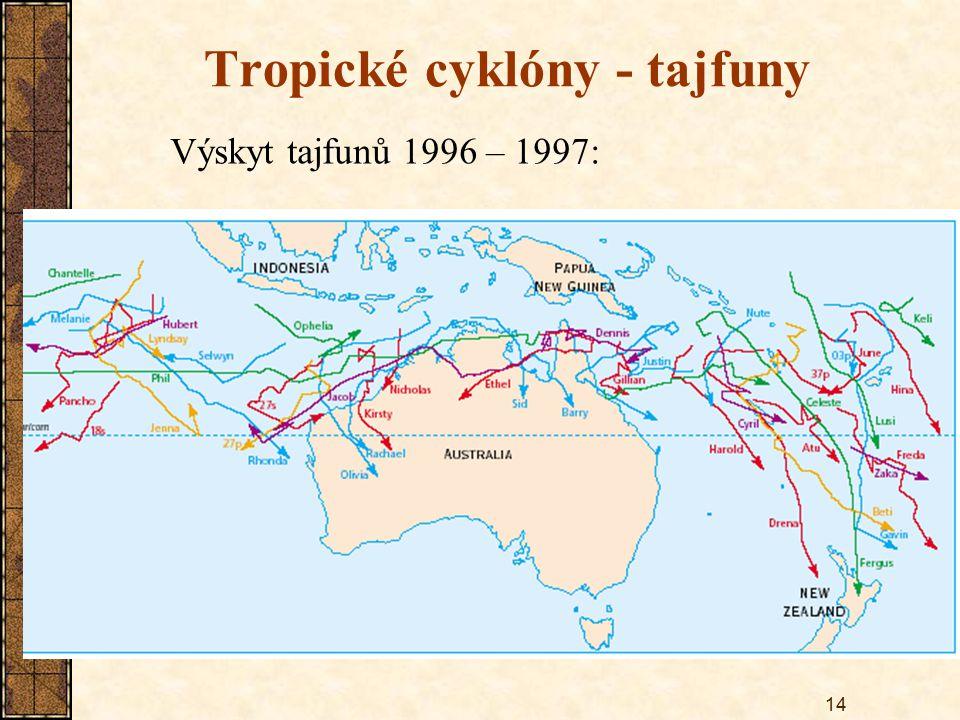 14 Tropické cyklóny - tajfuny Výskyt tajfunů 1996 – 1997: