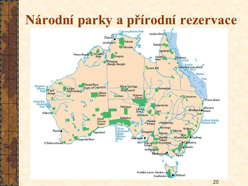 20 Národní parky a přírodní rezervace