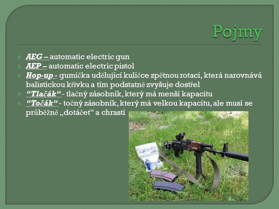  AEG – automatic electric gun  AEP – automatic electric pistol  Hop-up - gumi č ka ud ě lující kuli č ce zp ě tnou rotaci, která narovnává balistic