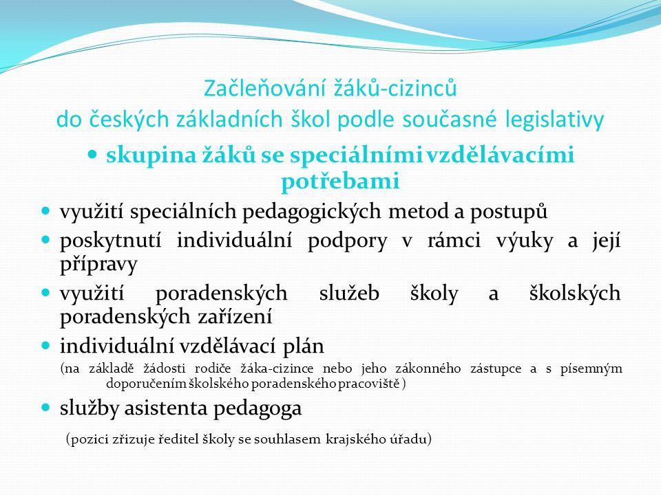 Začleňování žáků-cizinců do českých základních škol podle současné legislativy skupina žáků se speciálními vzdělávacími potřebami využití speciálních pedagogických metod a postupů poskytnutí individuální podpory v rámci výuky a její přípravy využití poradenských služeb školy a školských poradenských zařízení individuální vzdělávací plán (na základě žádosti rodiče žáka-cizince nebo jeho zákonného zástupce a s písemným doporučením školského poradenského pracoviště ) služby asistenta pedagoga (pozici zřizuje ředitel školy se souhlasem krajského úřadu)