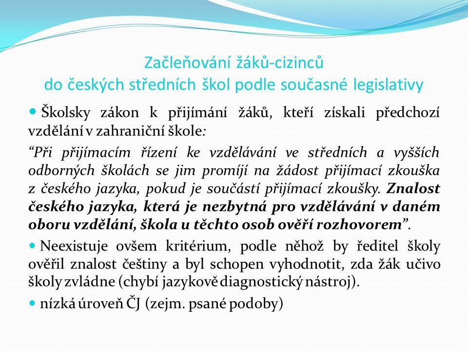 Začleňování žáků-cizinců do českých středních škol podle současné legislativy Školsky zákon k přijímání žáků, kteří získali předchozí vzdělání v zahraniční škole: Při přijímacím řízení ke vzdělávání ve středních a vyšších odborných školách se jim promíjí na žádost přijímací zkouška z českého jazyka, pokud je součástí přijímací zkoušky.