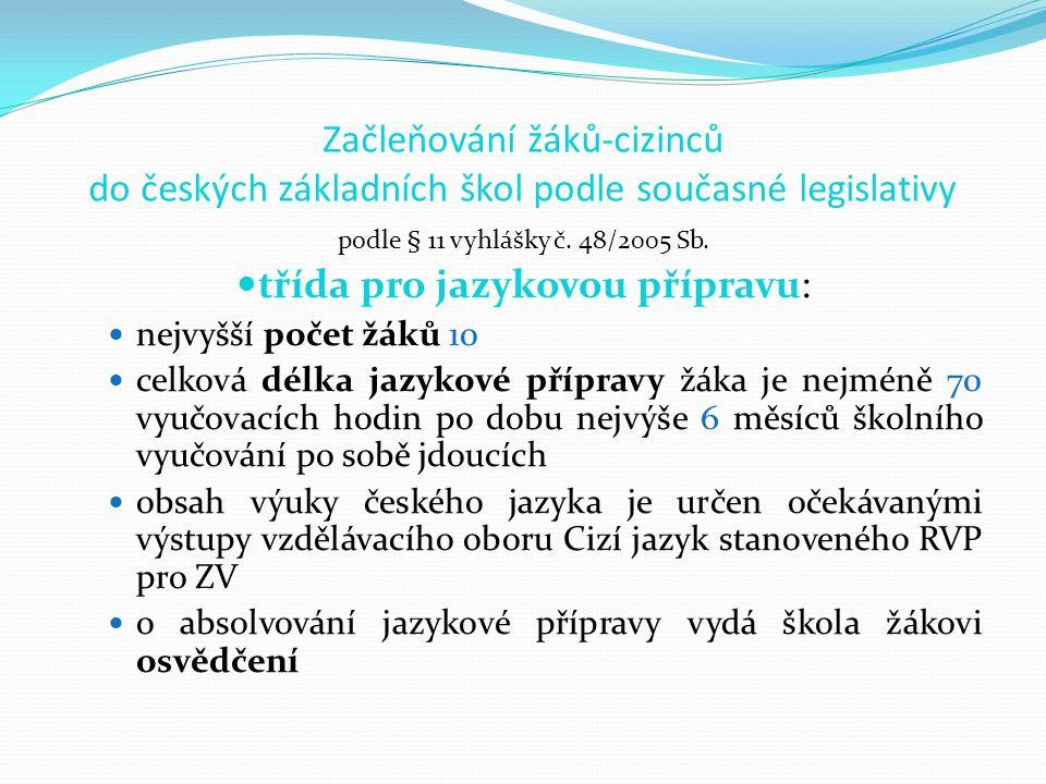 Začleňování žáků-cizinců do českých základních škol podle současné legislativy podle § 11 vyhlášky č.