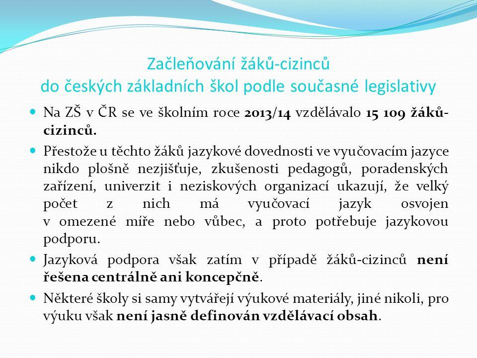 Začleňování žáků-cizinců do českých základních škol podle současné legislativy Na ZŠ v ČR se ve školním roce 2013/14 vzdělávalo 15 109 žáků- cizinců.