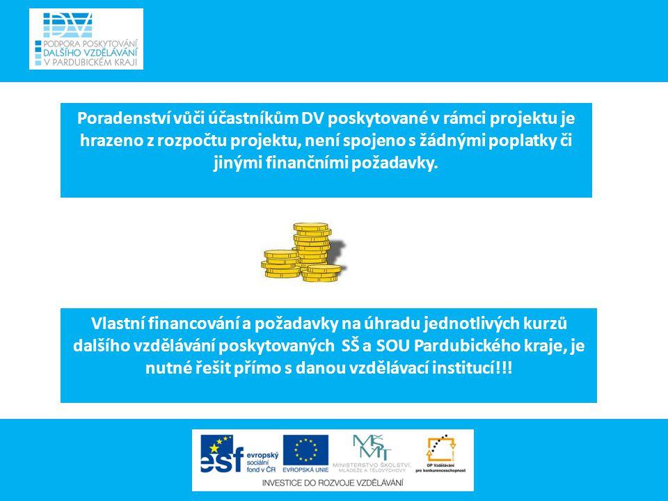 Poradenství vůči účastníkům DV poskytované v rámci projektu je hrazeno z rozpočtu projektu, není spojeno s žádnými poplatky či jinými finančními požadavky.