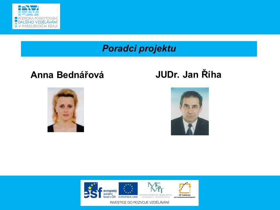 Anna Bednářová Poradci projektu JUDr. Jan Říha