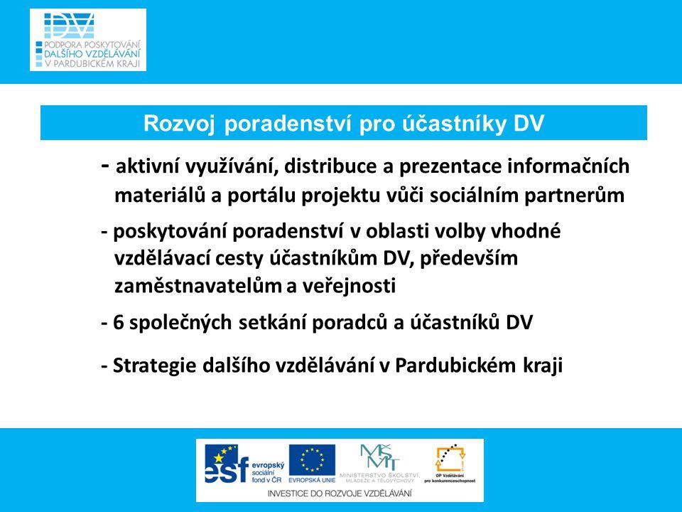 Rozvoj poradenství pro účastníky DV - aktivní využívání, distribuce a prezentace informačních materiálů a portálu projektu vůči sociálním partnerům - poskytování poradenství v oblasti volby vhodné vzdělávací cesty účastníkům DV, především zaměstnavatelům a veřejnosti - 6 společných setkání poradců a účastníků DV - Strategie dalšího vzdělávání v Pardubickém kraji