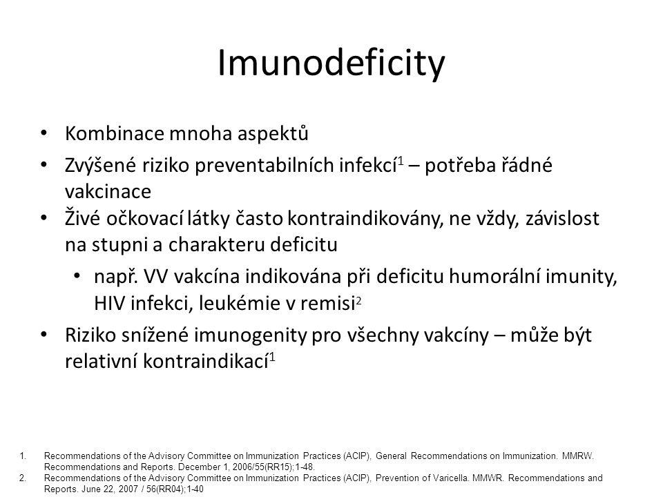 Imunodeficity Neživé vakcíny nejsou kontraindikované Vždy indikace TIV Řádné očkování dle věku + často indikované další neživé vakcíny (zejména proti opouzdřeným bakteriím) Individuální rozhodování 1 Charakter a stupeň imunodeficitu Předpokládané trvání imunodeficitu Pravděpodobnost expozice 2.