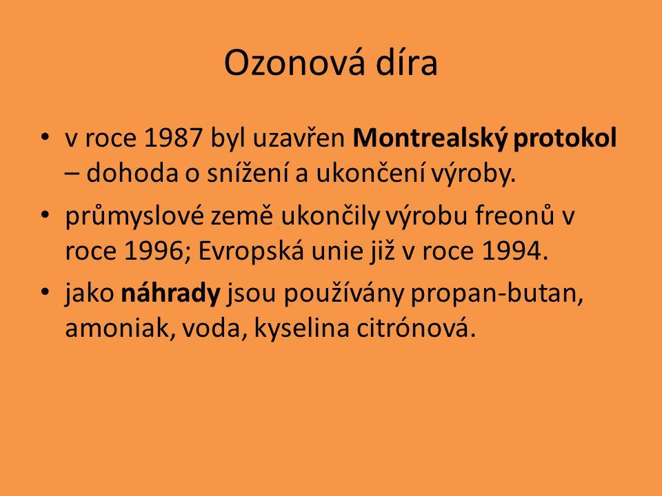 Ozonová díra v roce 1987 byl uzavřen Montrealský protokol – dohoda o snížení a ukončení výroby. průmyslové země ukončily výrobu freonů v roce 1996; Ev