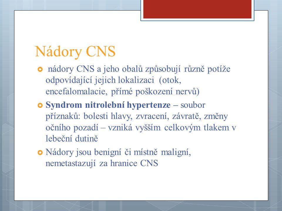 Nádory CNS  nádory CNS a jeho obalů způsobují různě potíže odpovídající jejich lokalizaci (otok, encefalomalacie, přímé poškození nervů)  Syndrom ni