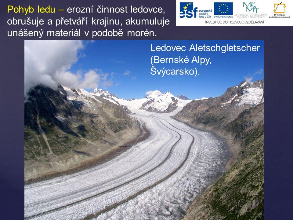 Pohyb sněhu – laviny, často unáší i kamení a stromy