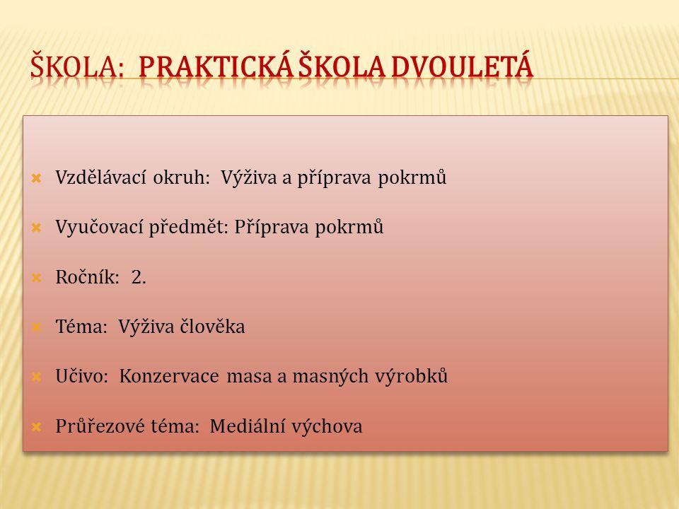  Vzdělávací okruh: Výživa a příprava pokrmů  Vyučovací předmět: Příprava pokrmů  Ročník: 2.